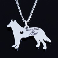 New Guardian Angel German Shepherd Necklace 18K Gold Silver Christmas Gift Puppy Doggy Animal Rescue Pet