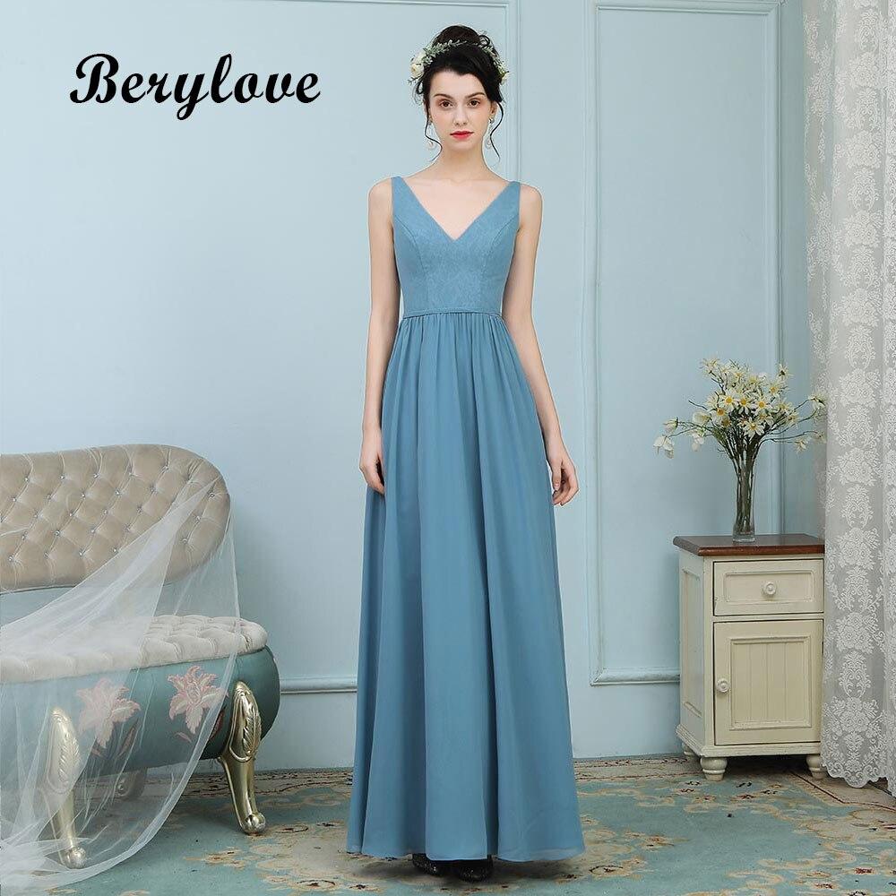 98bfedd60a89ab5 BeryLove Простые Вечерние платья Длинные v-образный вырез бирюзовые платья  для выпускного вечера 2018 женские