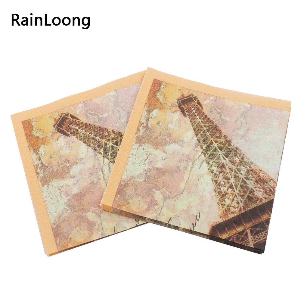 [RainLoong] Turm Papierservietten Rose Festliche & Party Tissue - Partyartikel und Dekoration - Foto 4