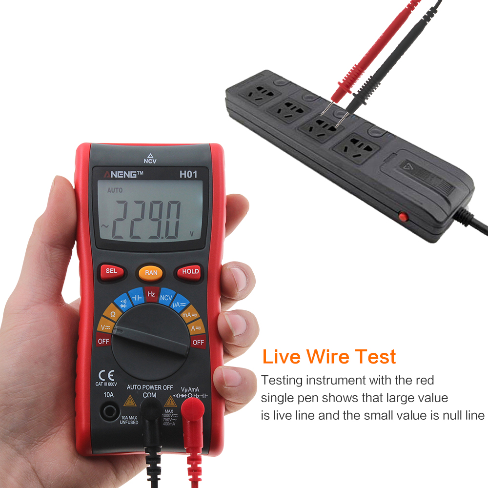 H01 Auto Range Digital Multimeter 4000 Counts Backlight AC/DC Ammeter Voltmeter Ohm Portable Wire test Meter with Manual