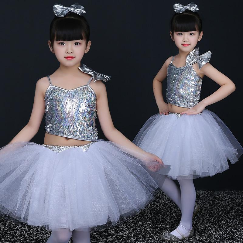 White Girls Sling Dress Children Performance Costumes Sequins Princess Skirts Dancers Modern Dances Chores