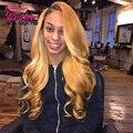 Honey Blonde Hair Brasileño 4 Bundles Brasileño Onda Del Cuerpo de Color Marrón Claro #27 Honey Blonde Virgen Del Pelo Humano Bundles Cabello extensiones
