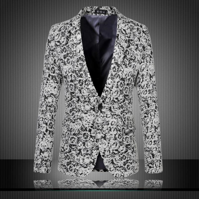 2015 New Arrival Fashion Floral Jacquard Woolen Blazer Men Slim Fit Plus Size 6xl Blazer Masculino