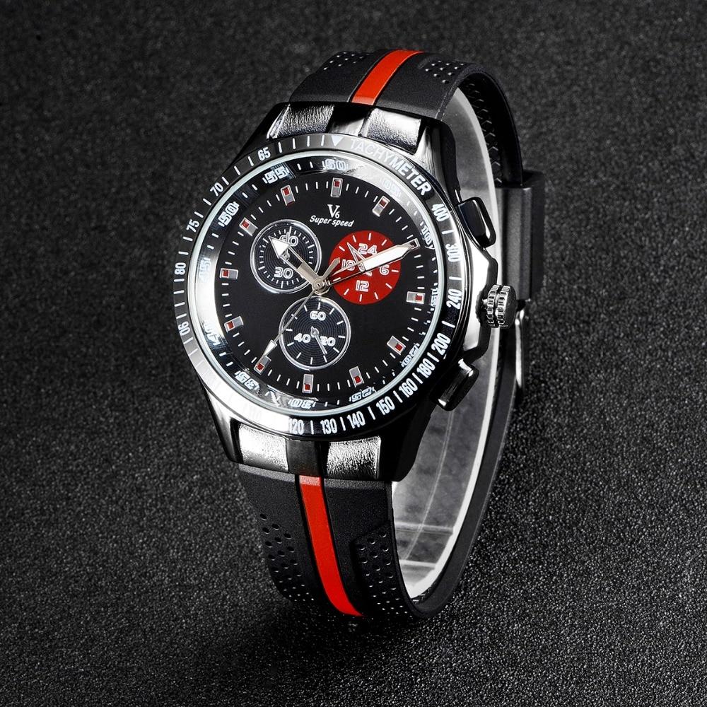 Vogue Fashion V6 Luxury Men Watch Cool Tire Silicone Band Black Clock Analog Military Man Sport Casual Wristwatch Reloj Gift