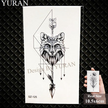 YURAN Black Mountain River Geometric Tattoo Stickers Women Body Arm Moon Temporary Tattoo Men Ankle Wolf Round Fake Tatoo 3D