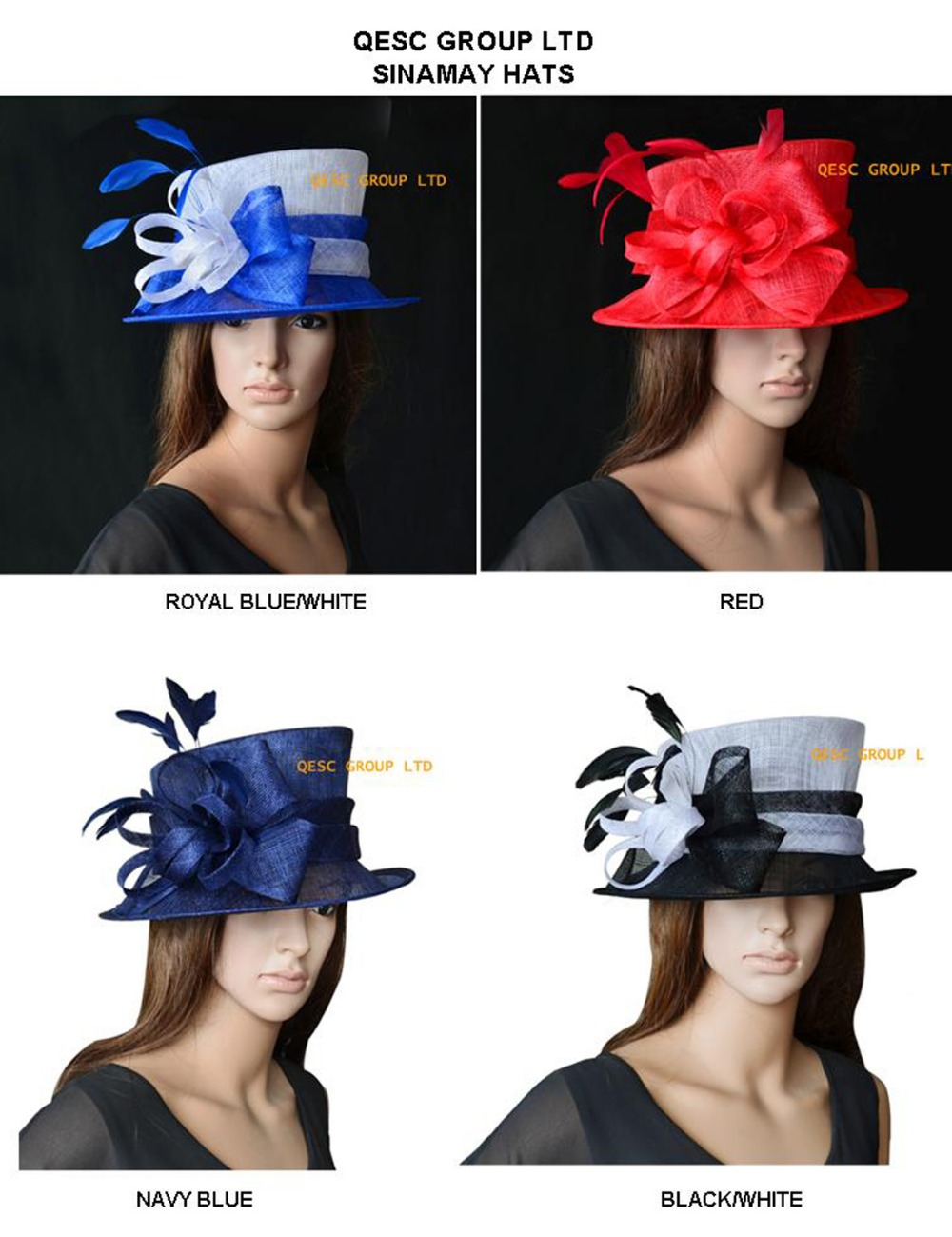 Wholesale FREE SHIPPING BY EMS NEW design Sinamay Hat Church Hat Formal Hat for Kentucky Derby