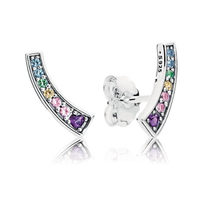 1ef67bc7f Original 925 Sterling Silver Multi-Color Arches Pandora Stud Earrings Clear  CZ For Women Wedding