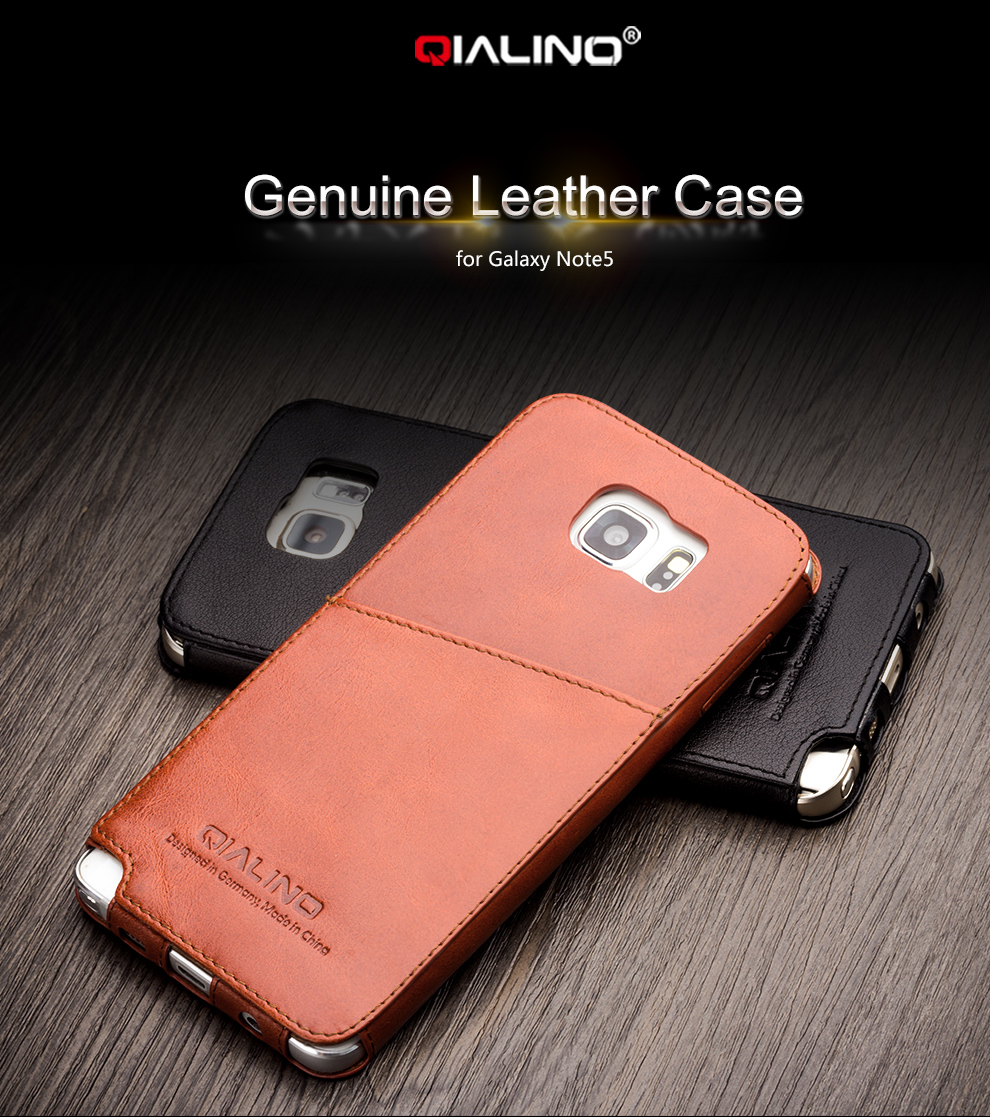 huge discount 1f4d8 d7fd5 US $28.99 |2015 QIALINO New Arrival Phone Case for Samsung Galaxy Note5  Elegant Styles Genuine Leather Back Cover 5.7 inch-in Fitted Cases from ...