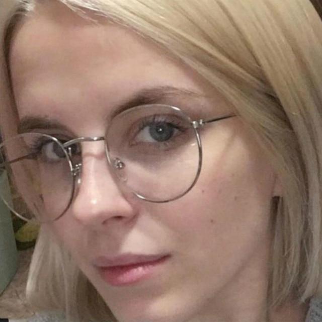 2018 New Designer Woman Glasses Optical Frames Metal Round Glasses Frame Clear lens Eyeware Black Silver Gold Eye Glass 3