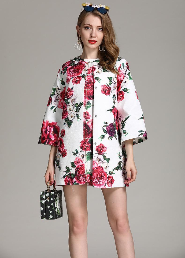 Dobby Longues Vestes Femmes Survêtement Collection O Mode Multi Piste De Trech Imprimé Manches Cou Floral Casual Manteaux Nouvelle gWxB1Rnp