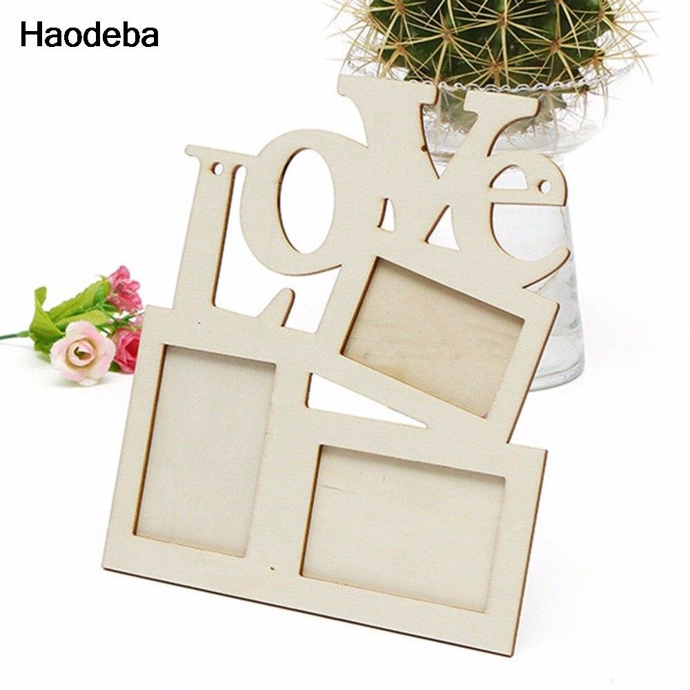 Haodeba DIY Hohlen Liebe Rahmen Holzbuchstaben 3 Fotos Bild rahmen ...