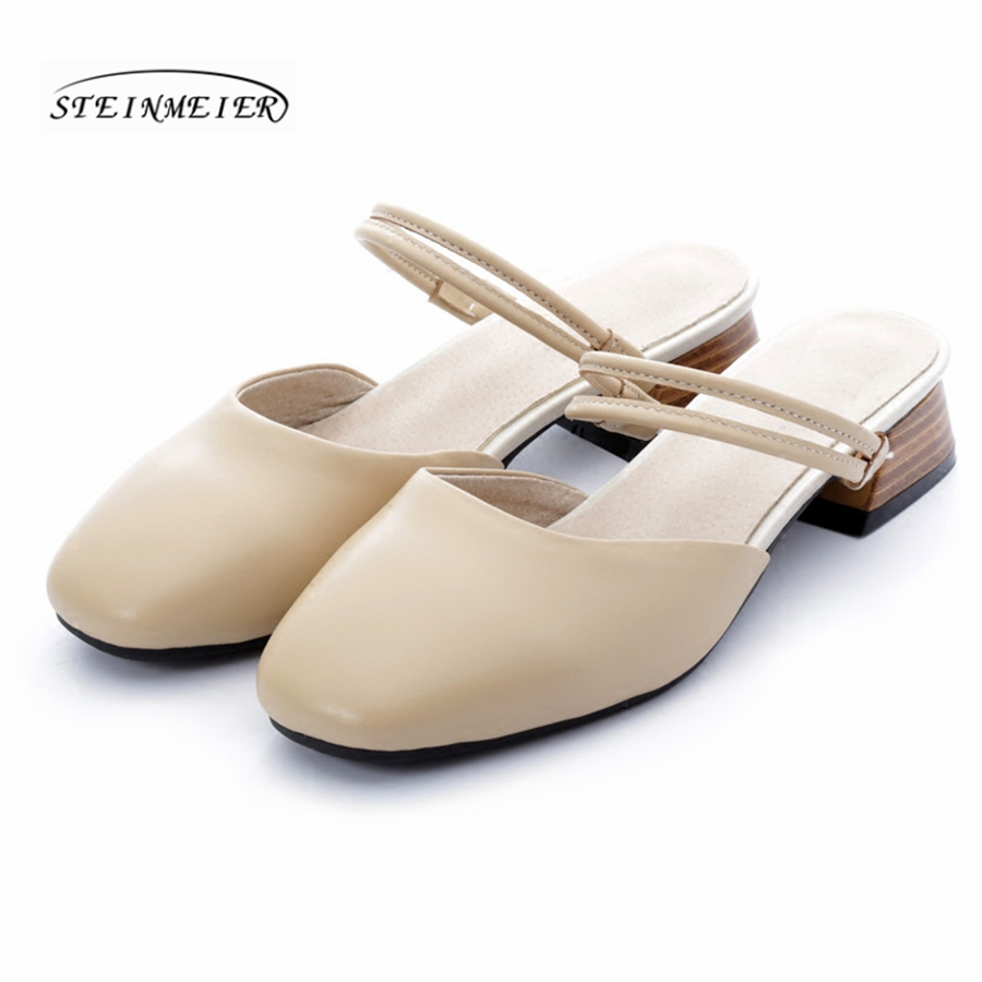 Estilo Beige De Blanco Beige Mano Las other Zapatillas Hecho Pie Vendimia Del Oxford Mujeres Zapatos Color Genuino Sandalias Planas white Cuadrado Británico Cuero A La Dedo vEBxREwPq