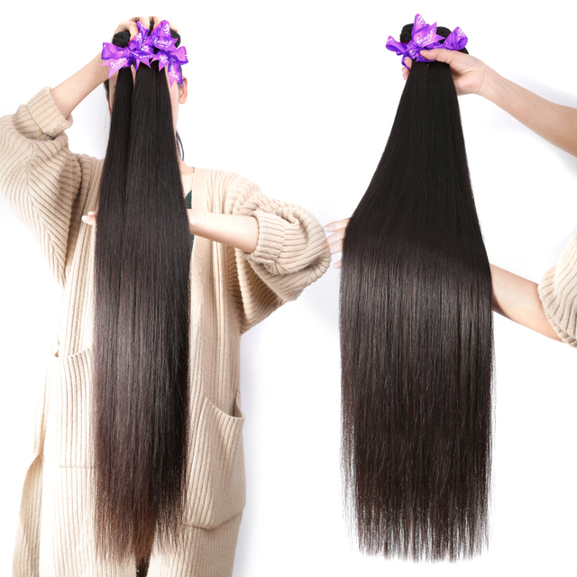 Beauty Hair Brazilian Hair Weave Bundles Straight 100% Human Hair Extension Weft Remy Hair 28 30 32 40 Inch Double Drawn