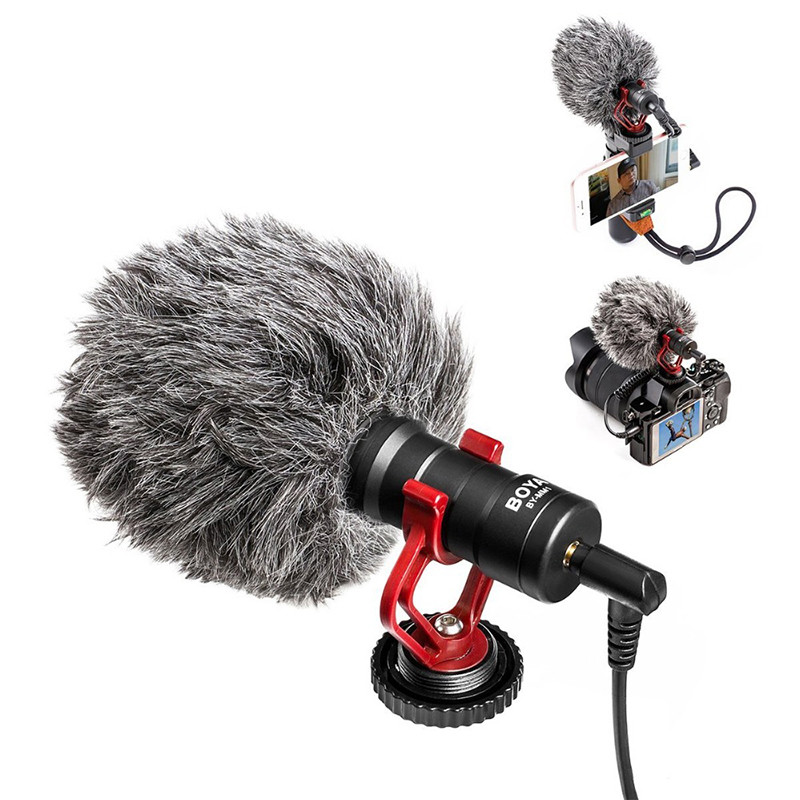 BOYA Vidéo Micro Compact Sur-Caméra Enregistrement Microphone pour Canon Nikon DJI Osmo DSLR Lisse Q 4 Feiyu Cardan BY-MM1 Microphone
