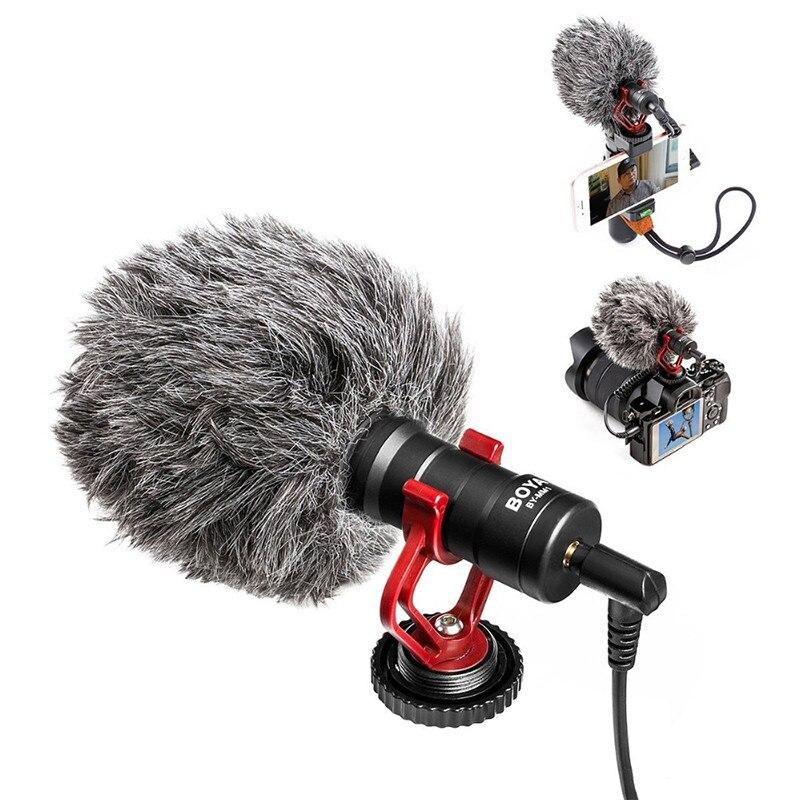 BOYA Video Micro compacto en cámara grabación micrófono para Canon Nikon DJI Osmo DSLR Smooth Q 4 Feiyu Gimbal BY-MM1 micrófono