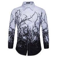 2017 Brand New Men Luxury Shirt Long Sleeve Camisa Masculina High Quality Printing Branches Shirts Brand
