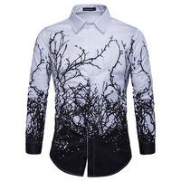 2017 Brand New Men Luxury Shirt Long Sleeve Camisa Masculina High Quality Printing Branches Shirts Brand