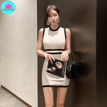 2019 Korean version of the summer new stitching contrast color sexy slim knit bag hip dress female Knee-Length contrast color full length dress