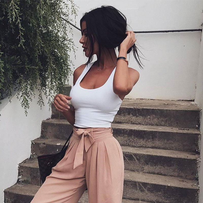 Focal20 Streetwear Fashion Halter Women   Tank     Top   Solid Backless Sleeveless Crop   Top   Summer Fitness Cropped Female