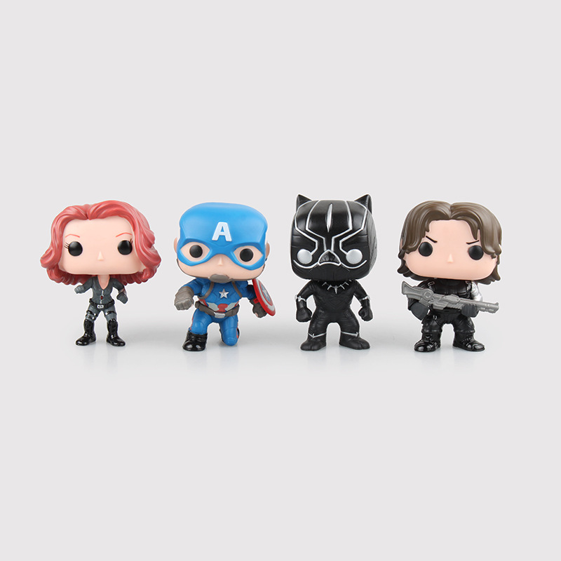 Captain America Civil War Black Widow Winter Soldier PVC Action Figure Collectible Model Toy 10cm KT2399 marvel shfiguarts captain america civil war black panther pvc action figure collectible model toy