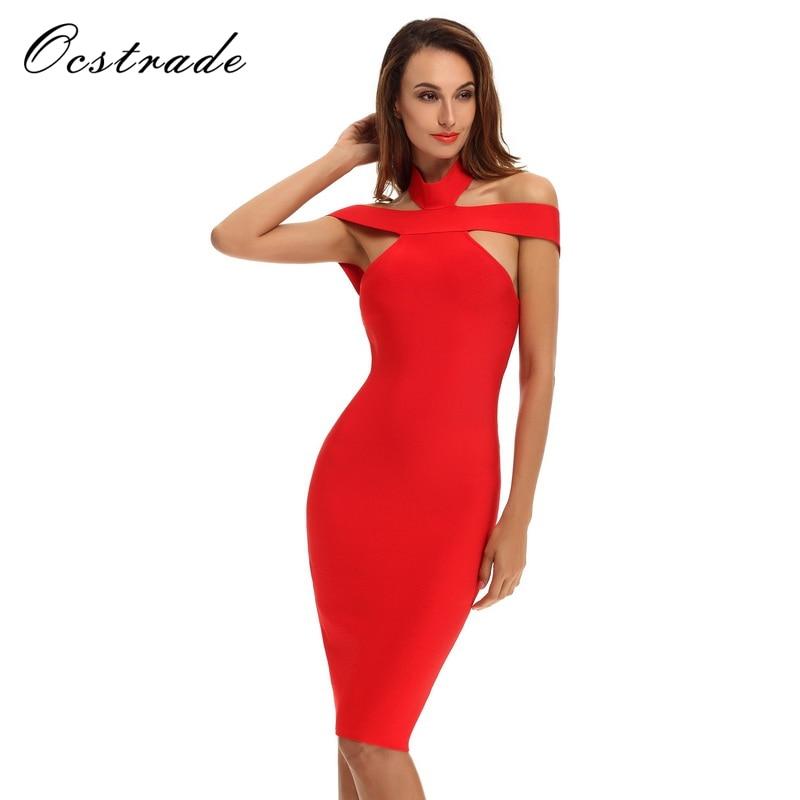 Ocstrade bandageklänning 2017 nyankomande kvinnor Bodycon röd - Damkläder