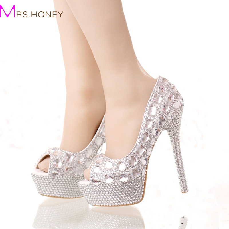 ФОТО Handmade Silver Diamond Wedding Shoes Peep Toe Platforms Rhinestone Prom Party Shoes Super High Heel Stilettos Bridal Shoes
