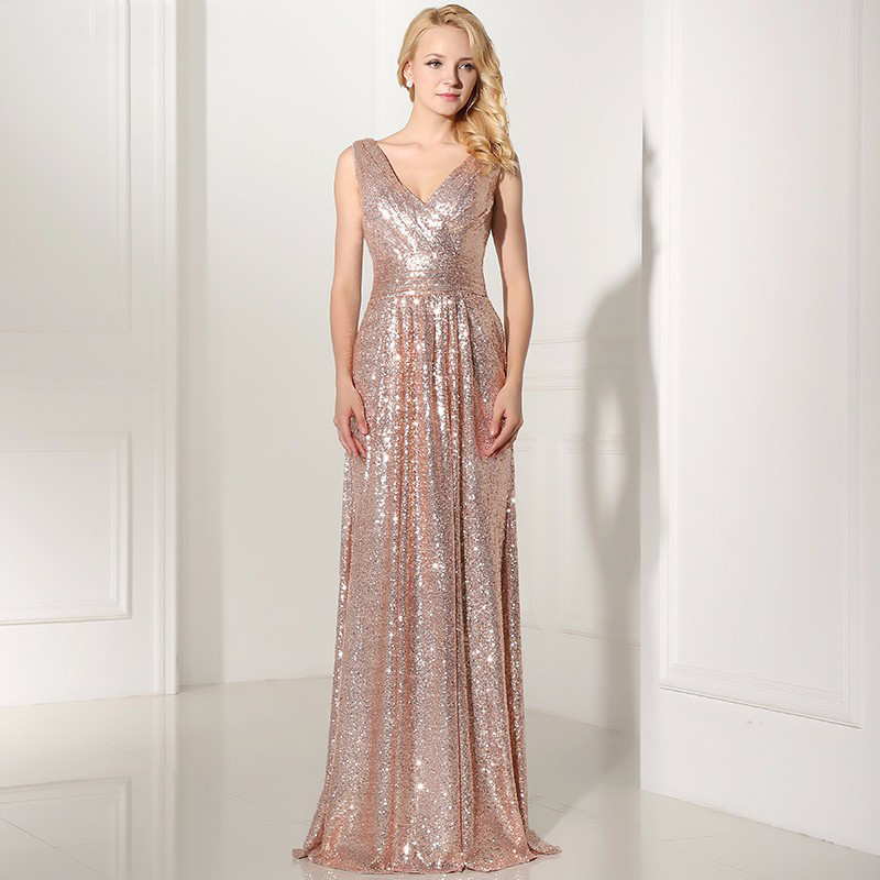 Buy Zb89 Rose Gold Sequine Long