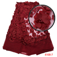 3d Lace Fabric 2017 High Quality Lace Wine African Lace Appliqun With Beaded Embroidered Lace Trim For Nigerian Wedding XZ810B 1