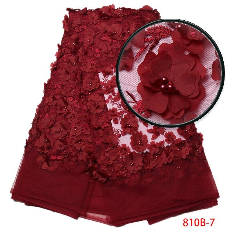 Tissu de dentelle 3d 2017 haute qualité dentelle vin dentelle africaine appliqué avec garniture de dentelle brodée perlée pour XZ810B-1 de mariage nigérian