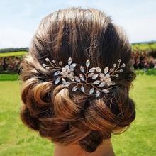 Wedding Hair Pins Jewelry Women Pearl Rhinestone Hairpins Bridal Accessories Silver Flower Pin Stick Headpiece