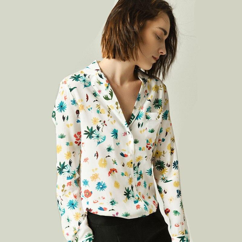 Blusen 2019 frühjahr neue daisy gedruckt seide hemd langarm weiblichen frauen shirt frauen tops-in Blusen & Hemden aus Damenbekleidung bei  Gruppe 1