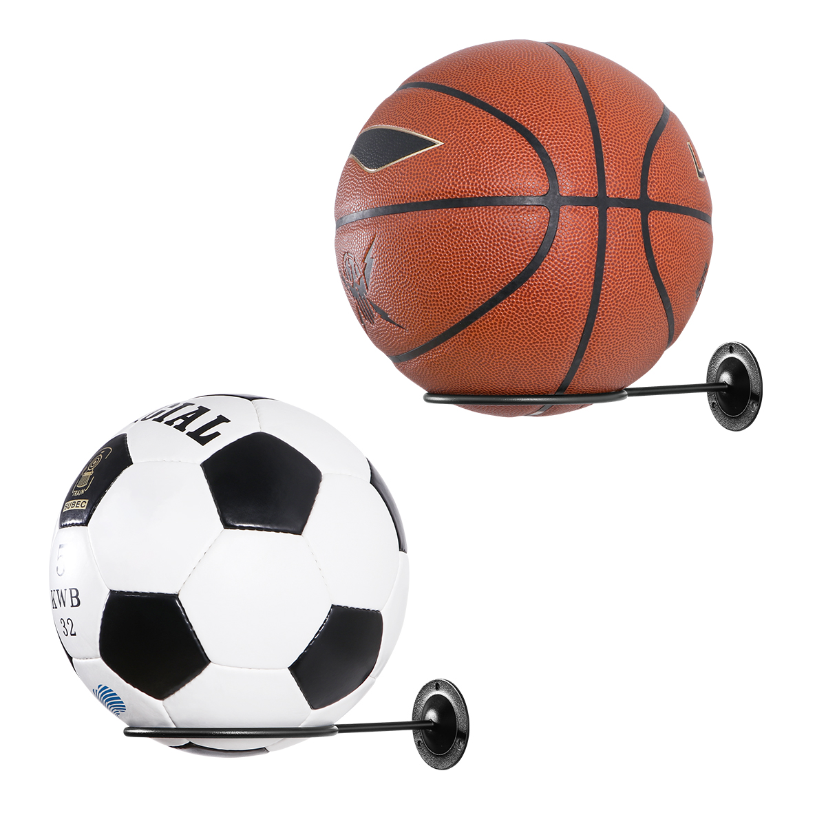 Clispeed 2PCS Wall-Mounted Ball Holders Display Racks For Basketball Soccer Football Volleyball Exercise Ball (Black)