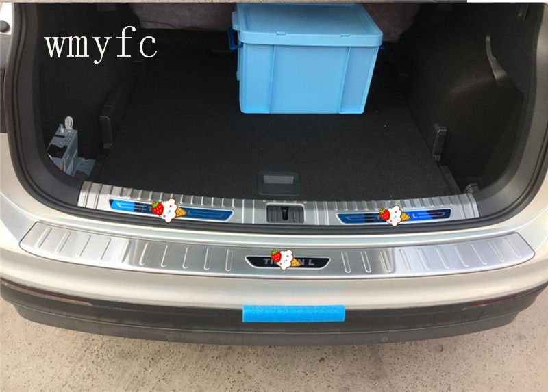 For Volkswagen VW Tiguan L 2017 Stainless steel Rear Bumper Protector plate Sill Trunk Guard Cover Trim 2PCS Accessories fit for volkswagen vw tiguan rear trunk scuff plate stainless steel 2010 2011 2012 2013 tiguan car styling auto accessories