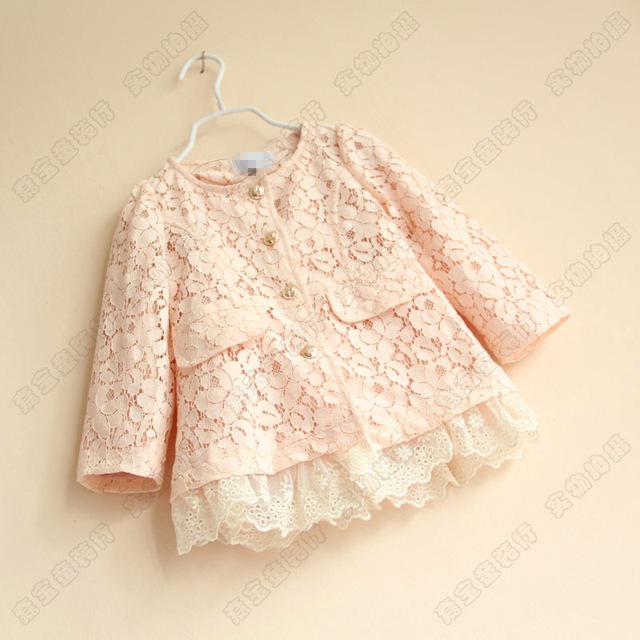 Casaco novo Bebê Meninas flor broto de seda casaco princesa Bowknot lace casacos de Poeira casaco infantil Atacado