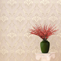European Relief Damascus Luxury Beige Pink Blue Damask Wallpaper For Wall 3 D Room Bedroom Wall