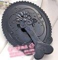 Plegable portátil de bolsillo espejo de plástico flor vintage rose oval mano Cosmético Compacto Maquillaje Mayorista