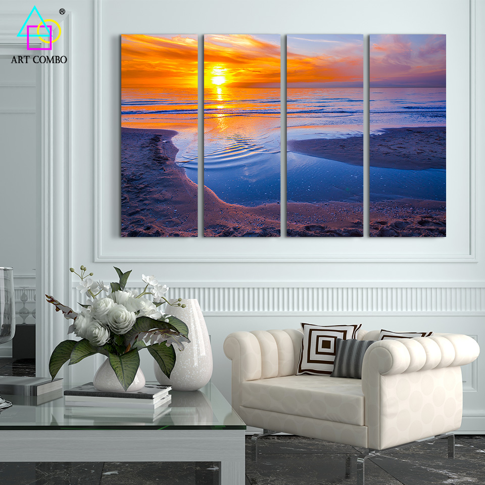 beach wall decor for living room 4 panels seascape decoration nature painting sunset 24448