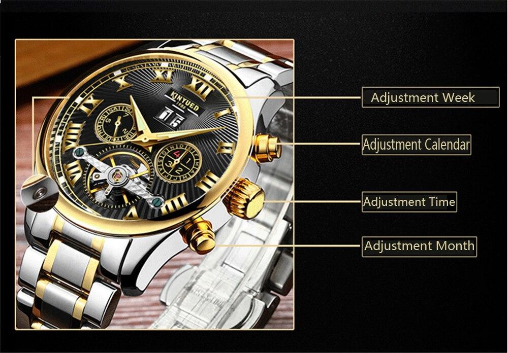 KINYUED Top Brand Mens Relojes Mecánicos Automático Tourbillon - Relojes para hombres - foto 5