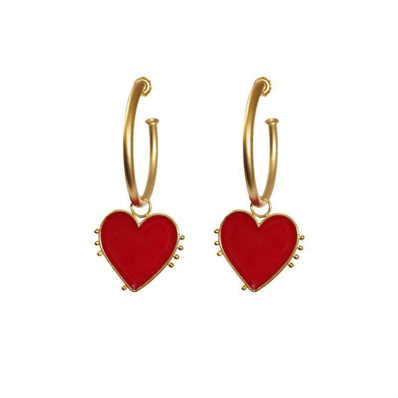 Creolen Schmuck & Zubehör Gehorsam 2019 Neueste Mode Schmuck Kupfer Vintage Gold Big Hoop Ohrringe Mit Rot Herz Charme Dame Street Style Erklärung Ohrring