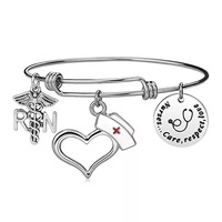 Silver Medical Nurse RN Bracelet With Heart Nurse Hat Angel Wing Stethoscope For Nurse Gifts