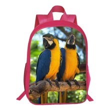 New Style Oxford 16-Inches Printing Animal 3D Parrot Women Backpacks for Tennager Girls School Bags for Children Book Bag Kids