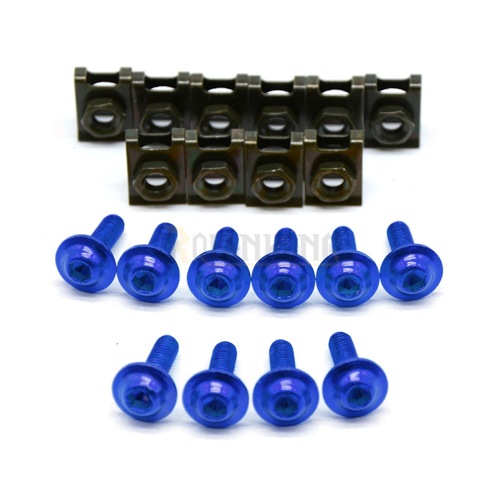 brand new 6mm cnc aluminum blue motorcycle parts <font><b>fairing</b></font> bolts screws For <font><b>YAMAHA</b></font> YZF <font><b>R1</b></font> R6 1998 1999 2000 2001 2002 <font><b>2003</b></font> 2004 image