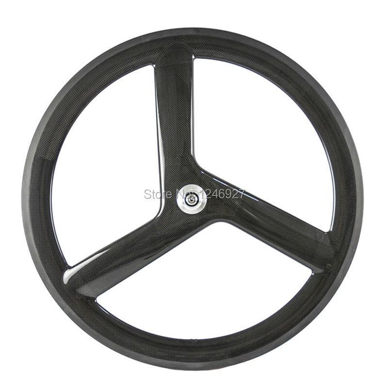 Tri Spoke Carbon Wheelset  Superteam Clincher Wheels Front Road Bike Wheel 700C