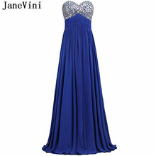 JaneVini Royal Blue Chiffon Long Bridesmaid Dresses with Crystal 2018 A Line Sweetheart Backless Maid of Honor Dress Party Gowns(China)