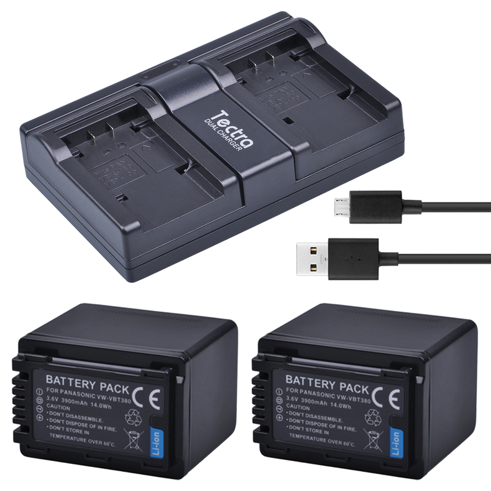 Tectra 2PCS VW-VBT380 VW VBT380 Li-ion Camera Battery + USB Dual Channel Charger for Panasonic HC-V180GK HC-V380GK HC-W580GK free customs taxes high quality skyy 48 volt li ion battery pack with charger and bms for 48v 15ah lithium battery pack