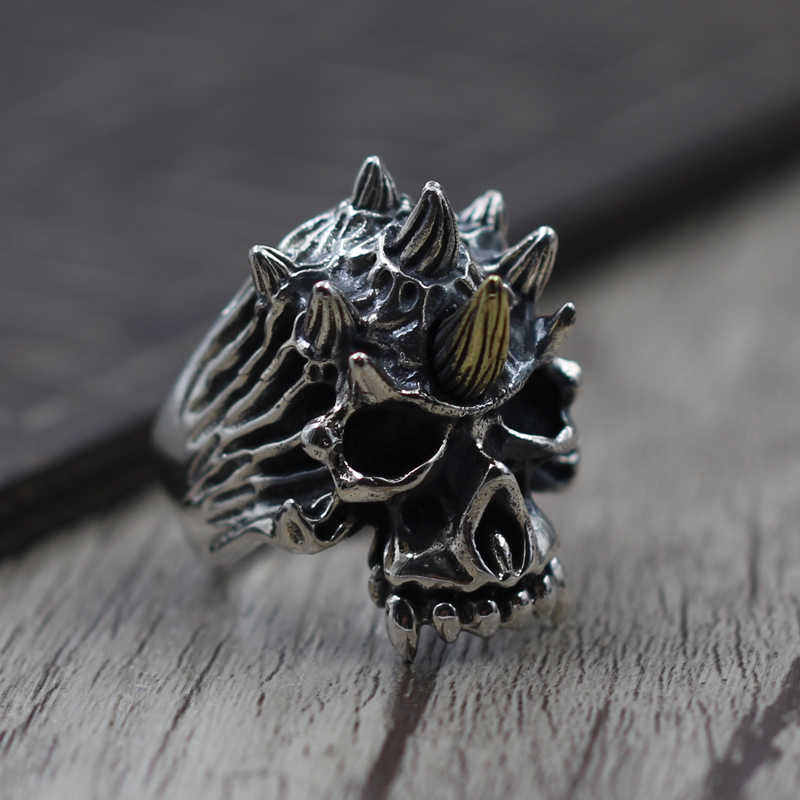 цены на S925 Silver Jewelry Silver Skull Ring opening to create a personality Retro Old Man domineering ring  в интернет-магазинах