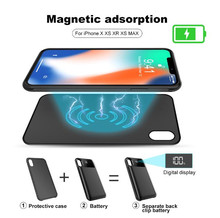 Separate Wireless charger Battyer Case For iPhone X XR Xs Max Magnetic Adsorption Power Bank Smart Digital Display Silicone Case