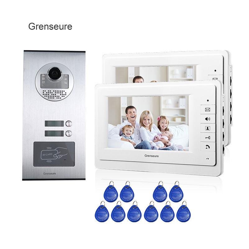 New 7 Screen Video Intercom Apartment Door Phone System 2 White Monitors RFID Access Door Camera for 2 Household FREE SHIPPING mymei best price new portable 3 5mm pillow speaker for mp3 mp4 cd ipod phone white