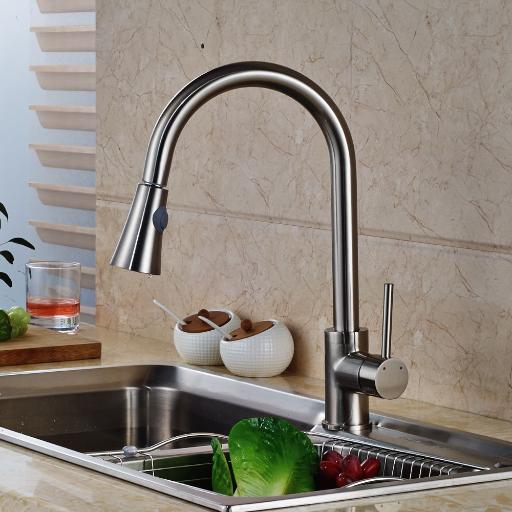 Pull Out Nickel Brushed Kitchen Faucet Swivel Spout Vessel Sink Mixer Tap