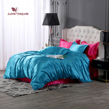 SlowDream Luxury Bedding Set Blue Duvet Cover Red Flat Sheet Pillowcase Bedspread Double Queen Linens Euro Home Decor Textiles
